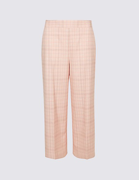 Checked Cropped Wide Leg Trousers