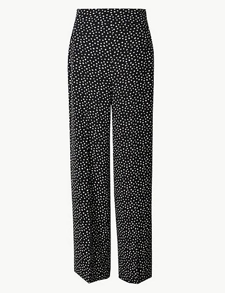 Polka Dot Wide 7/8th Leg Trousers