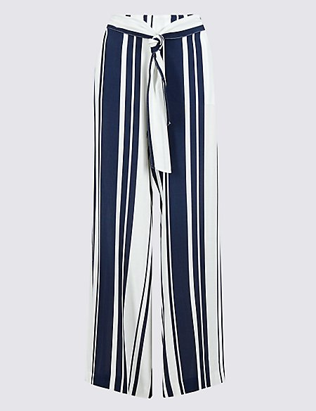 Striped Belted Palazzo Trousers