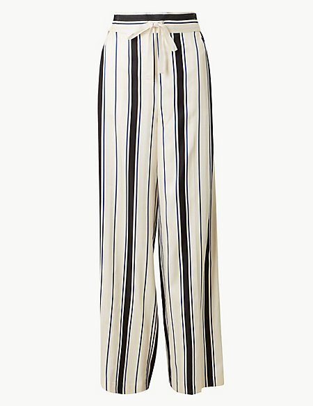 b027256f5473 Striped Wide Leg Trousers