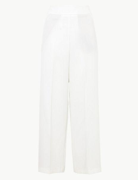 Crepe Side Stripe Wide Leg Trousers