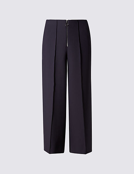 Front Zip Wide Leg Cropped Trousers