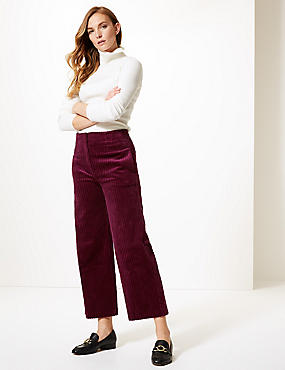 Corduroy High Waist Cropped Trousers