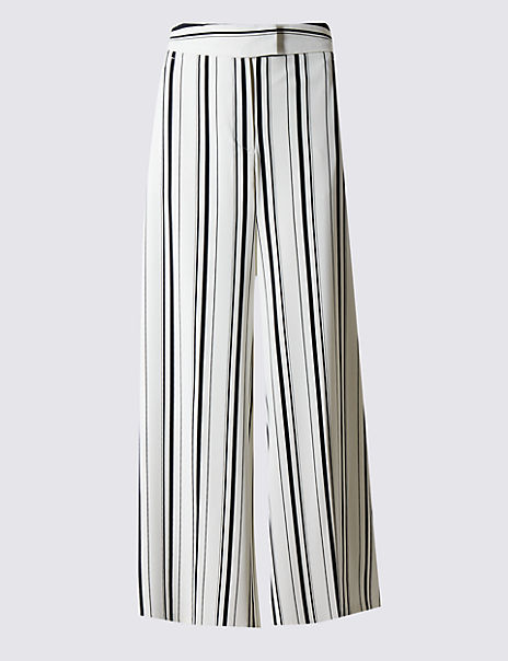 Striped Cropped Wide Leg Trousers