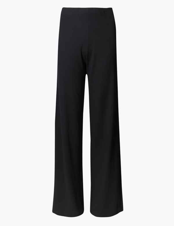SIZE 16 REGULAR M/&S LADIES CREPE PRINTED WIDE LEG TAILORED TROUSERS NWT