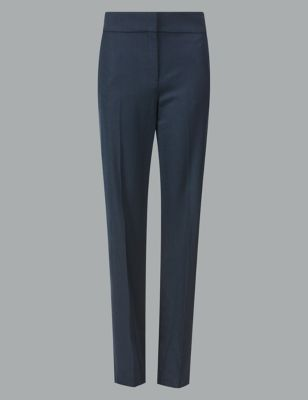 Wool Blend Trousers With Silk by Marks & Spencer