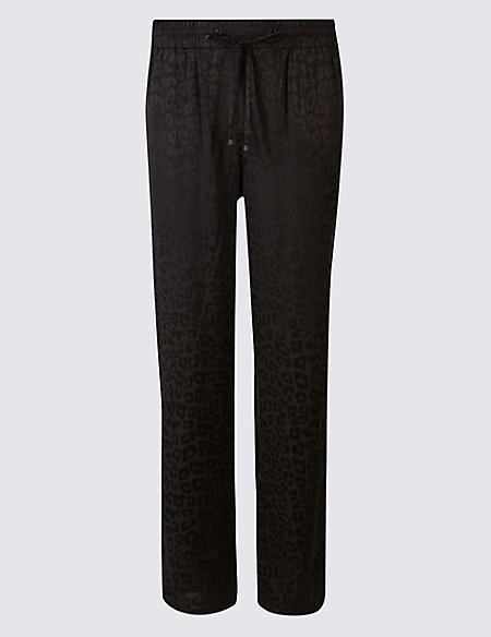 Animal Print Tapered Leg Trousers