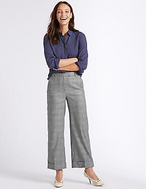 Checked Turn-up Wide Leg Trousers