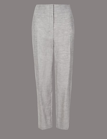 Cotton Rich Tapered Leg Peg Trousers