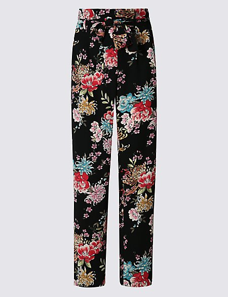 Tapered Leg Floral Print Trousers