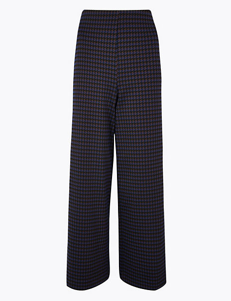 Dogtooth Wide Leg 7/8th Trousers