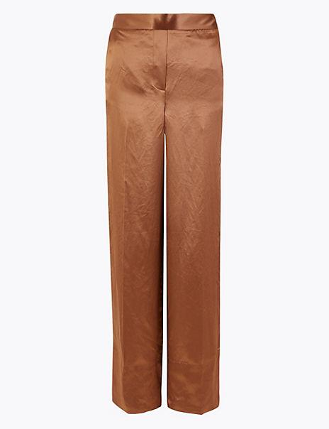 Satin Wide Leg Pyjama Trousers