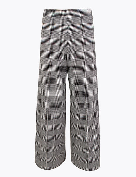 Checked Wide Leg Trousers
