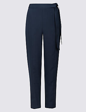 Tapered Leg Belted Trousers
