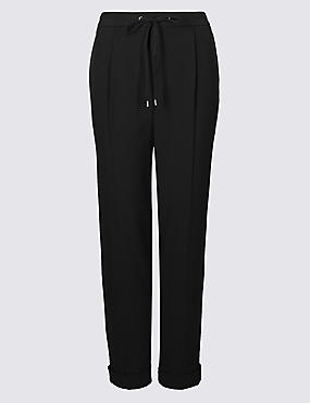 Drawstring Pleated Tapered Leg Trousers