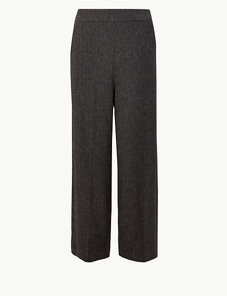 Herringbone Wide Leg High Waist Trousers
