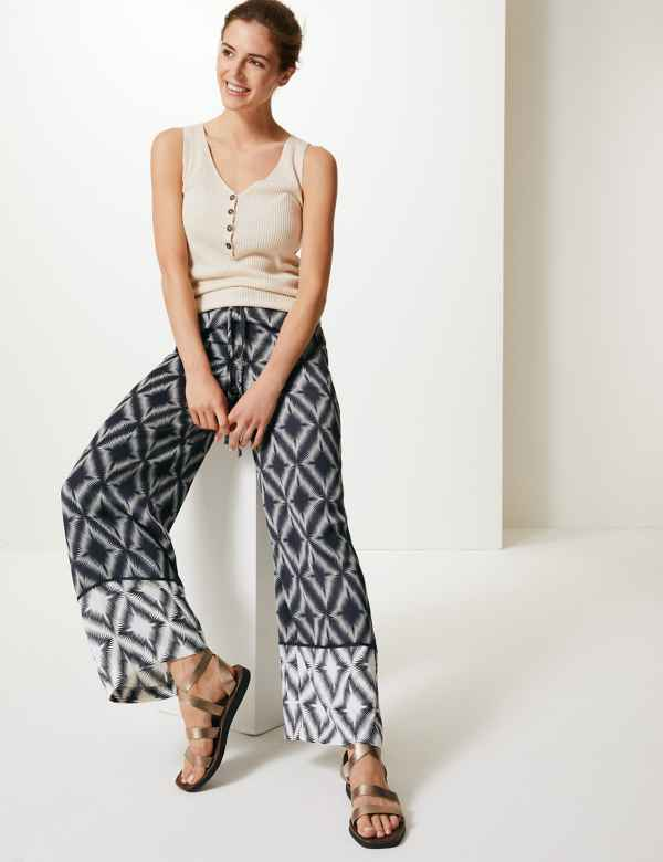 1f906df6b427 Diamond Print Wide Leg High Waist Trousers
