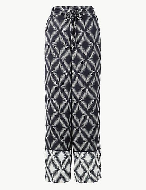 Diamond Print Wide Leg High Waist Trousers