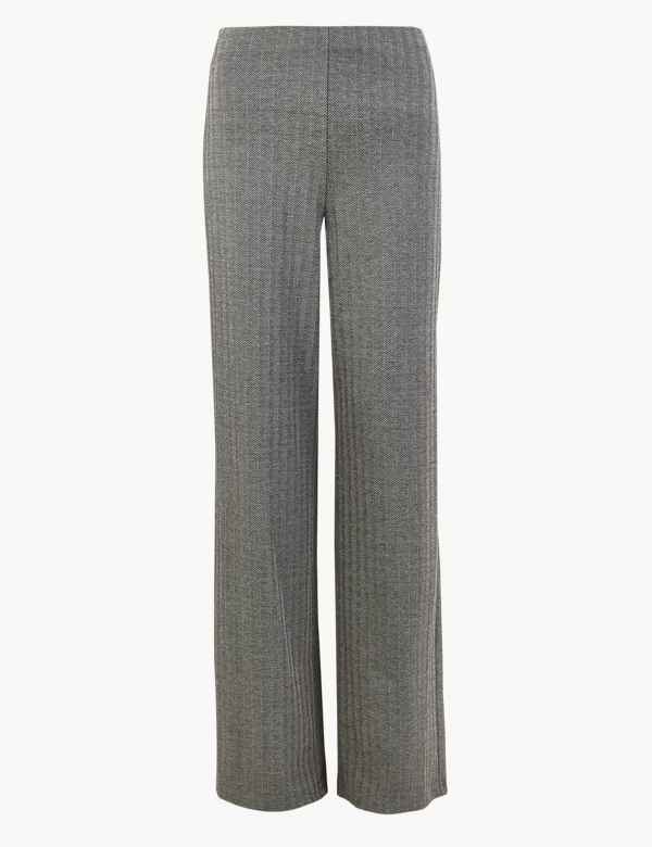 a1c36c8a676a06 Jersey Herringbone Wide Leg Trousers. New. M&S Collection