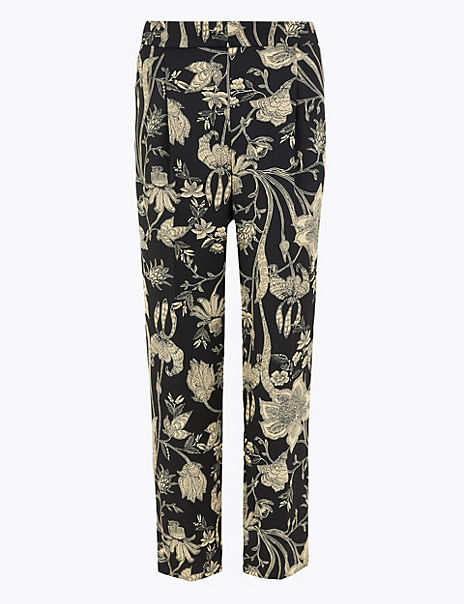 Floral Print Tapered Ankle Grazer Trousers