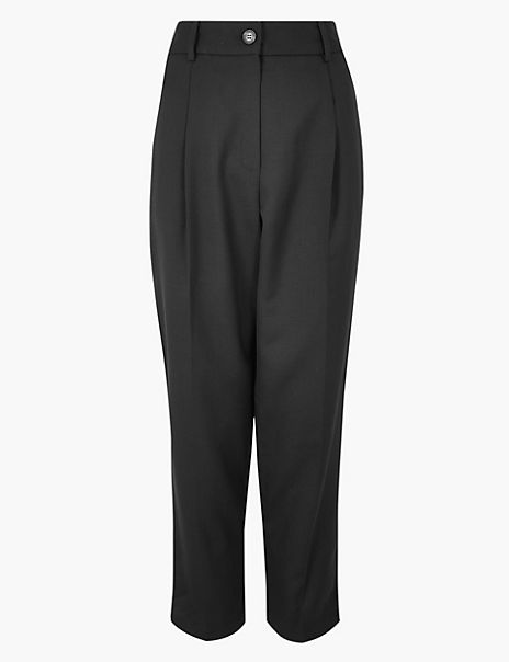 Wool Blend Tapered Ankle Grazer Trousers