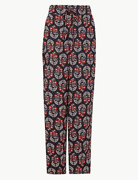 Floral Print Wide Leg High Waist Trousers