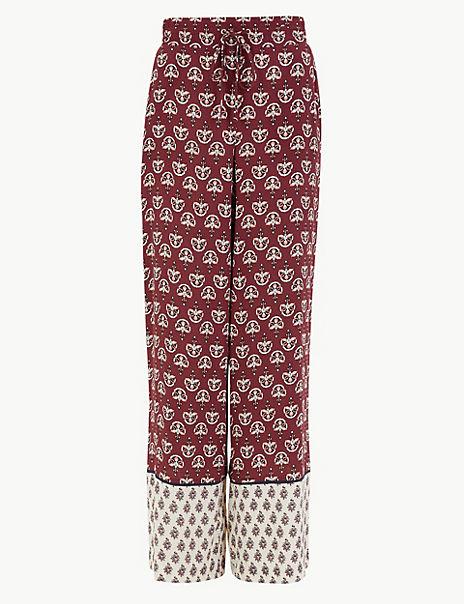 Printed Wide Leg High Waist Trousers