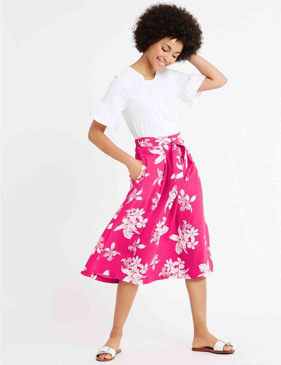 e38c91afa4b64 Floral Print Tie Front A-Line Midi Skirt | M&S Collection | M&S