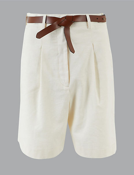 Belted Shorts with Linen