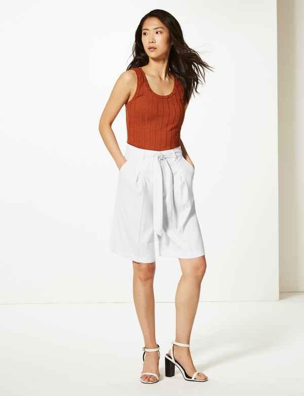 aea7fd68fb Belted High Waist Tailored Shorts