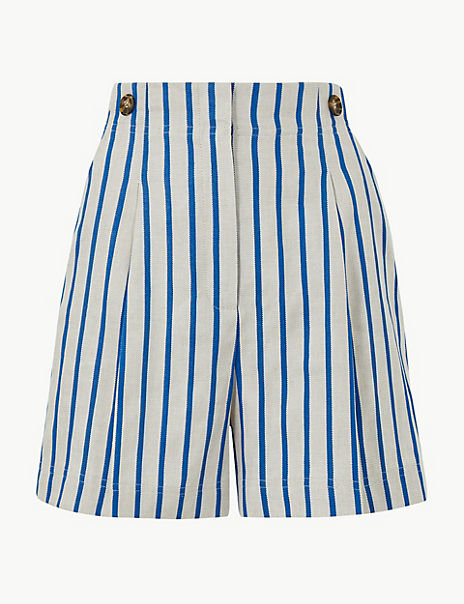 Linen Blend Striped Tailored Shorts