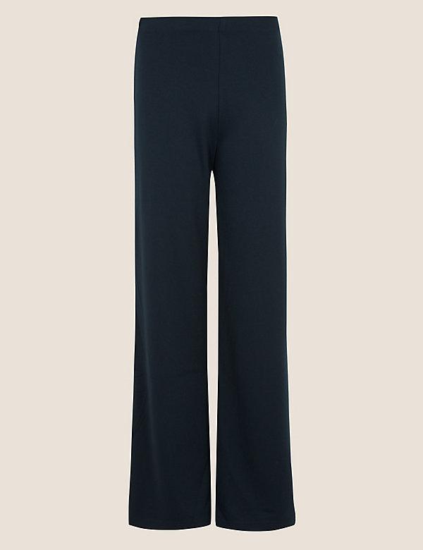 Žerzejové vysoce střižené kalhoty sširokými nohavicemi