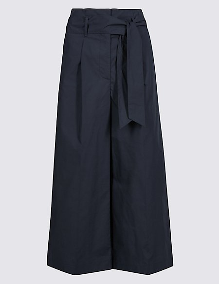 Cotton Blend Wide Leg Cropped Trousers