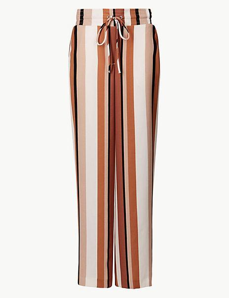 Striped Wide Leg Ankle Grazer Trousers