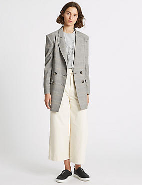 Checked Side Stripe Longline Blazer