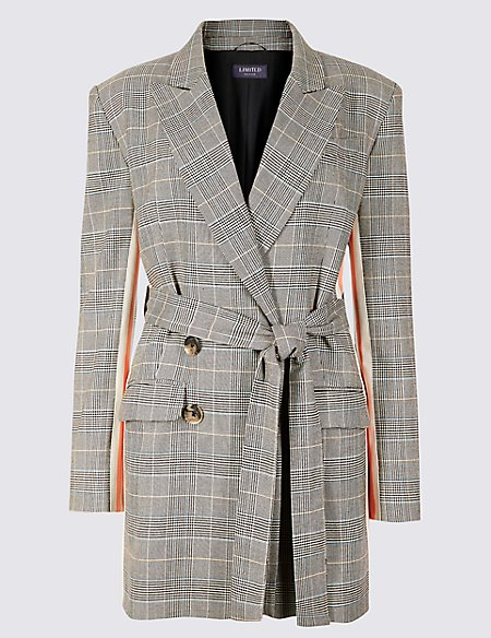 Checked Side Stripe Longline Blazer