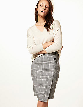 Checked Wrap Mini Skirt