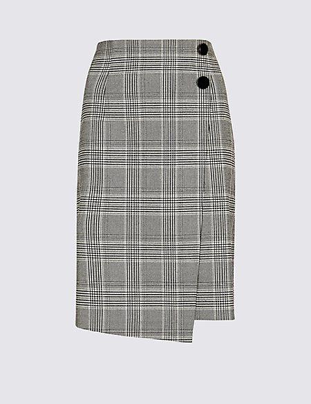 Checked Wrap Mini Skirt