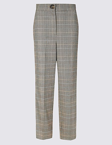 Checked Side Stripe Tapered Leg Trousers