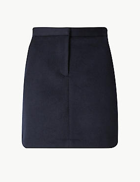 Wool Blend A-Line Mini Skirt