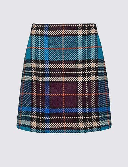 Wool Rich Checked A-Line Mini Skirt
