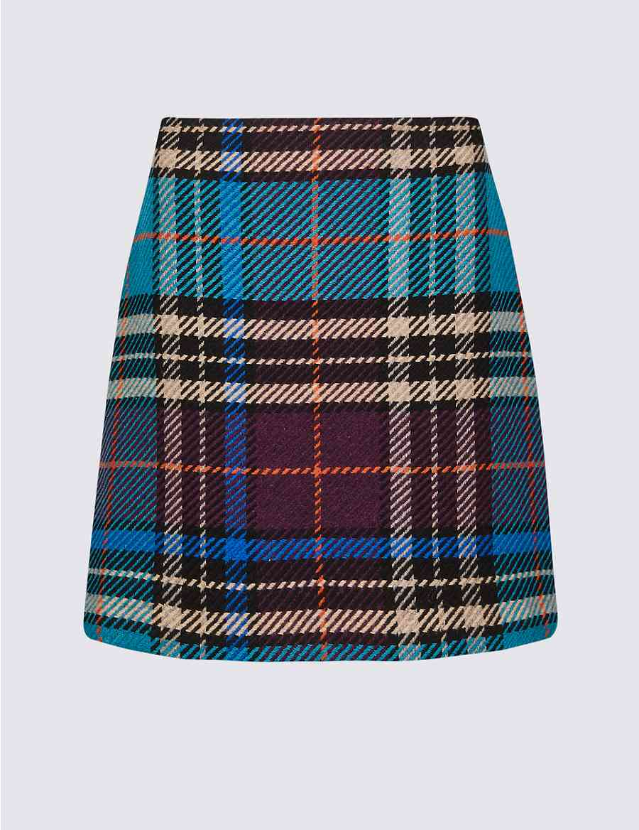 Wool Rich Checked A-Line Mini Skirt  81e26c698