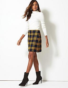 Wool Blend Checked A-Line Mini Skirt