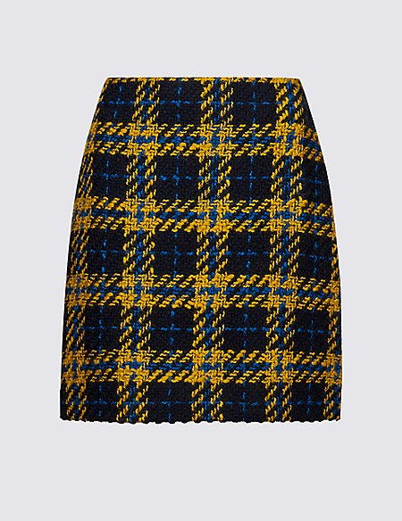 Wool Blend Checked A-Line Mini Skirt
