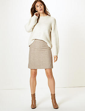 Wool Blend Herringbone A-Line Mini Skirt