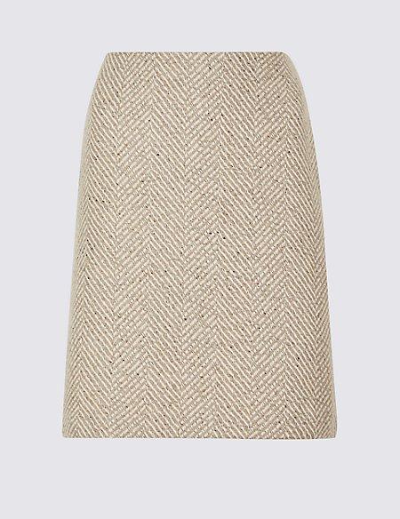 Wool Blend Herringbone A-Line Mini Skirt