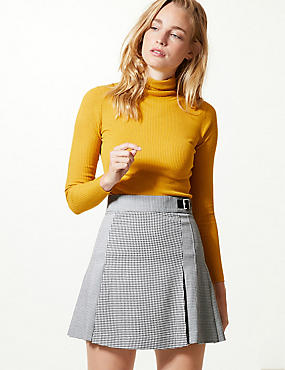 Checked Kilt Mini Skirt