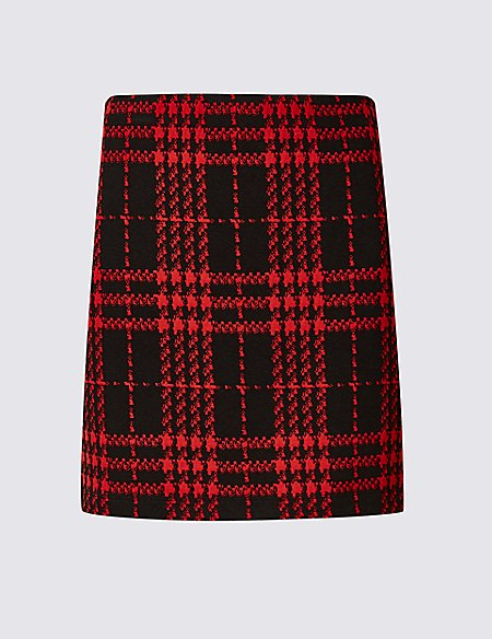 Checked Jersey A-Line Mini Skirt