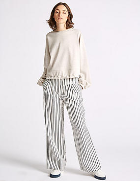 Linen Blend Striped Wide Leg Trousers