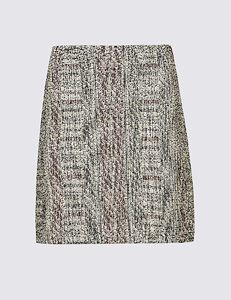 Cotton Blend Textured A-Line Mini Skirt